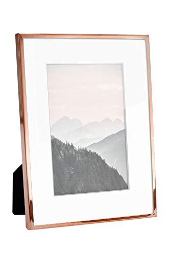 Afuly Rose Gold Bilderrahmen 15x20 oder 10x15 mit Passepartout Metall Portraitrahmen Tabelle oder Wand