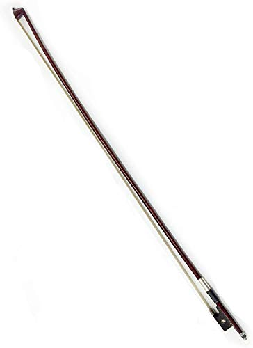 Brazilwood Student Violin Bow 4/4 Round Stick with Mongolian Horse Hair Ebony Frog Silver Wire Winding for Beginner Practice