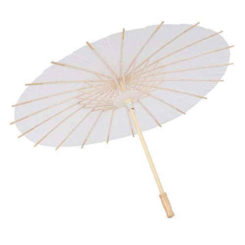 Preisvergleich Produktbild Weiyiroty White Paper Umbrella,  DIY Classic Paper Umbrella Sonnenschirm,  Oiled Paper Umbrella Decor,  Chinesischer Sonnenschirm für Hochzeiten / Braut- / Partydekor / Rollenspiele / Foto Prop(59cm)