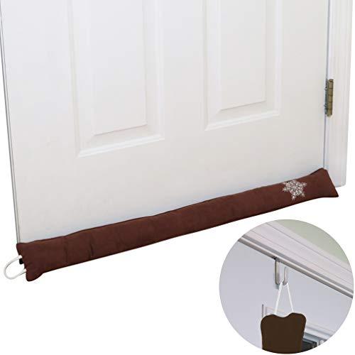 Evelots Door Draft Stopper-36 inch-with Over The Door Hook-Heat Stay in-Brown