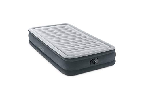 """Intex Comfort Plush Mid Rise Dura-Beam Airbed with Internal Electric Pump, Bed Height 13"""", Gray, Twin (300 lbs), Model Number: 67765ED"""