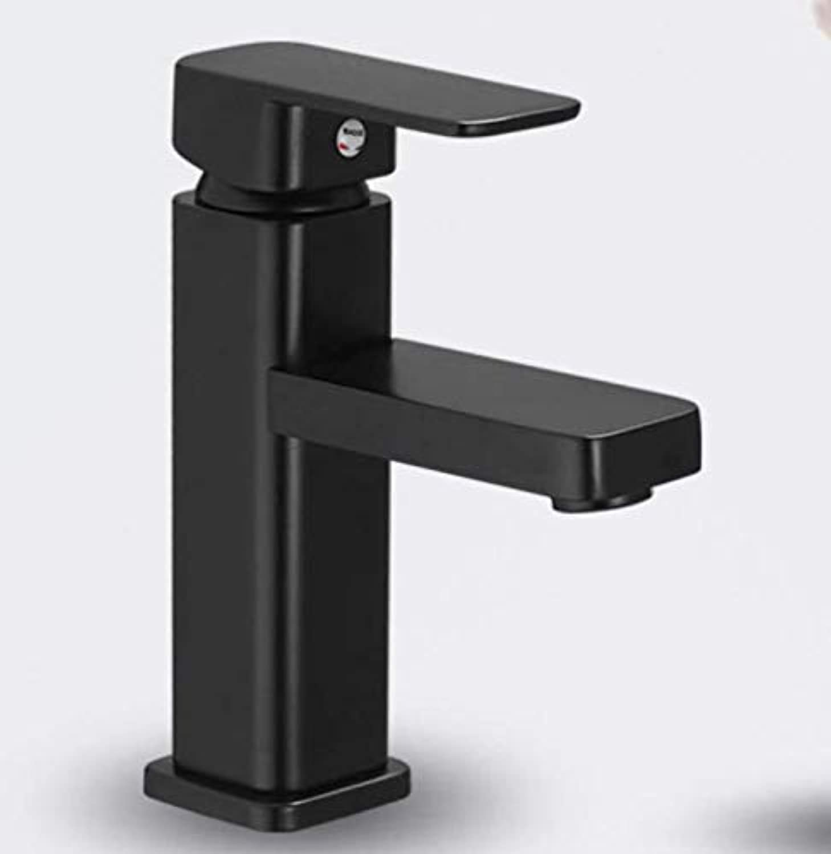 Bathroom Faucet All Copper Black Matte Frosted Faucet Black High Basin Faucet Square Black Paint Hot and Cold Faucet