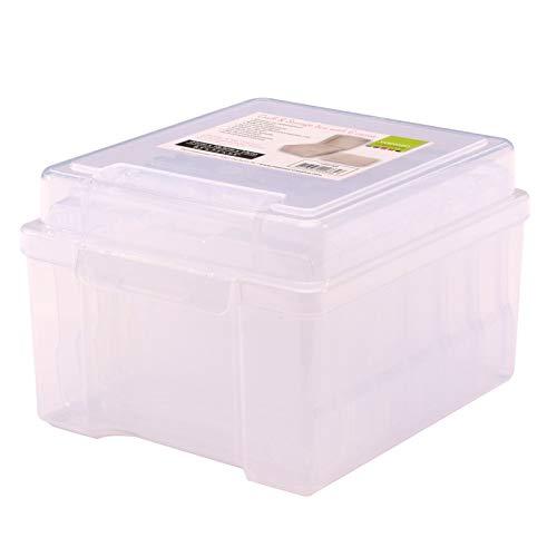 Vaessen Creative 1009-009 Aufbewahrungsbox mit Deckel und 6 Kleinen Transparenten Dosen, Kunststoff Sortierbox zum Verstauen von Bastelzubehör, Fotos und Weiteren Utensilien, 21 x 18,5 x 14 cm