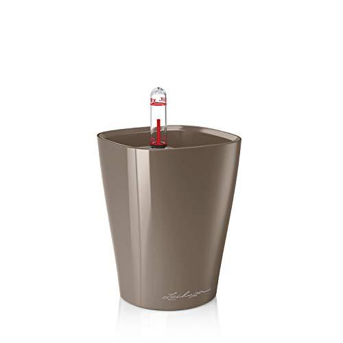 Lechuza 14959 MINI-DELTINI Tischgefäß, Hochwertiger Kunststoff, Herausnehmbarer Pflanzeinsatz, Für Innenraumbegrünung geeignet, taupe hochglanz