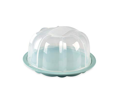 Nordic Ware 50099AMZM Translucent Bundt Cake Keeper, Interior 10.7 x 10.7 x 6.1 in, Sea Glass Base