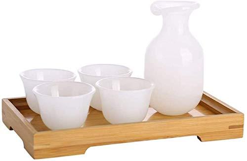 PIVFEDQX Juego De Vajilla para Sake De 6 Piezas con Bandeja De Madera Porcelana De Jade Artesanía Retro Tradicional Color Blanco