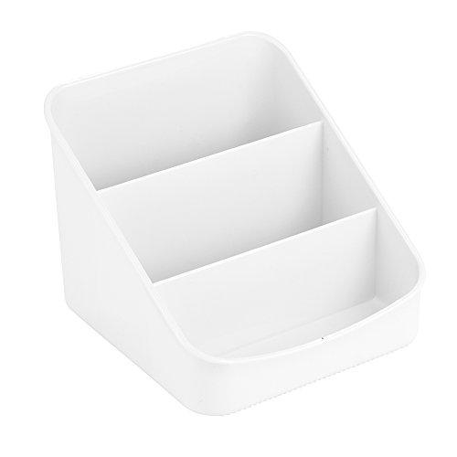 InterDesign Linus Caja para cocina, organizador de plástico con 3 compartimentos, organizador de condimentos y envases, blanco