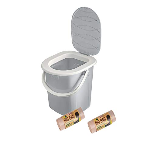 BranQ - Home essential BranQ - Inodoro portátil para Camping (22 L, con 40 Bolsas ecológicas, plástico, con Carga máxima de hasta 120 kg, 22 L), Color Gris Claro