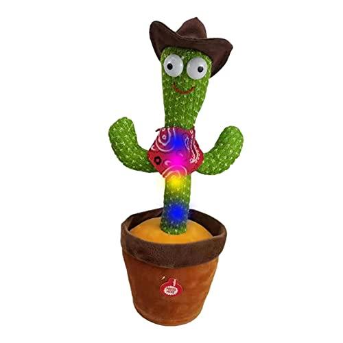 Kuyatioo Juguetes De Peluche De Cactus Bailarines, Cactus De Baile Electrónico con Función De Luz Y Grabación, Juguetes De Cactus En Macetas Rellenos De Meneo Eléctrico para Niños Y Niñas Que Juegan