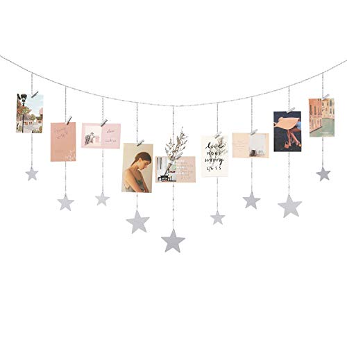Mkono Hanging Photo Display Wooden Stars Garland with Metal Chains Picture Frame Collage with 25 Wood Clips Wall Art Decoration for Home Office Nursery Room Dorm Christmas Card Display, Silver