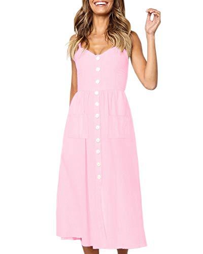 Imysty Damen Sommerkleid mit Spaghettiträgern und Knöpfen - - X-Groß