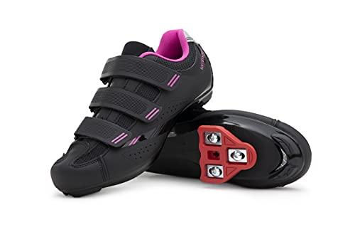 Tommaso Pista Women's Indoor Cycling Ready Cycling Shoe Bundle - Black/Pink - Look Delta - 41