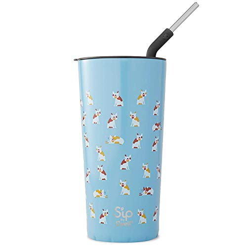 Sip by Swell Stainless Steel Takeaway Tumbler - 24 Fl Oz - Frenchies Forever - Double-Layered Vacuum-Insulated Travel Mug Keeps Coffee, Tea and Drinks Cold for 16 Hours and Hot for 4