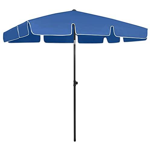 vidaXL Sombrilla de Playa Parasol Exterior Patio Terraza Marquesina Refugio Solar contra Rayos Ultravioleta Piscina Toldo Azul Azure 200x125 cm