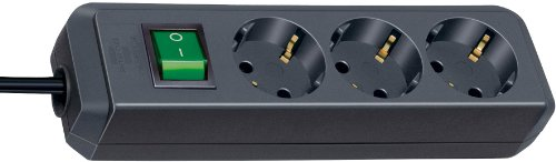 Brennenstuhl Eco-Line, Steckdosenleiste 3-fach (Steckerleiste mit erhöhtem Berührungsschutz, Schalter und 3m Kabel) schwarz