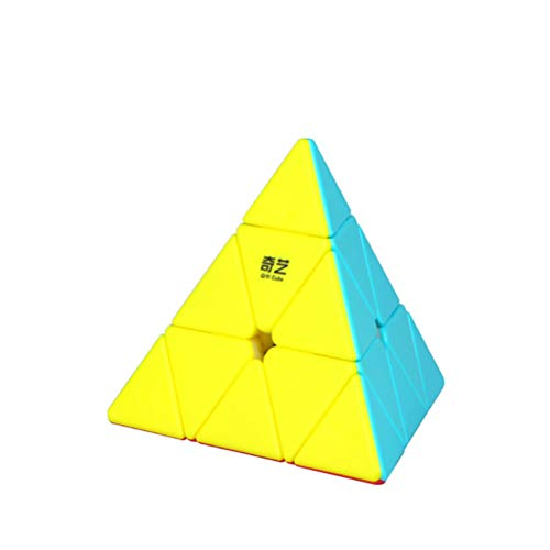 JIARUN 3x3x3 3x3 Pyramid Magic Cube, triángulo de Tres Orden Color sólido Cubo Liso, Juguetes educativos de Entrada, Rompecabezas de niños 3D