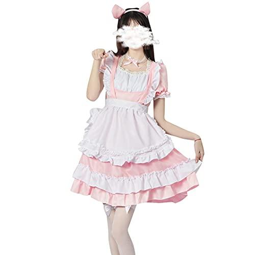 Costume da cameriera, misto cotone, costume sexy da cameriera, rosa gatto cameriera Lolita vestito uniforme, sexy e bello