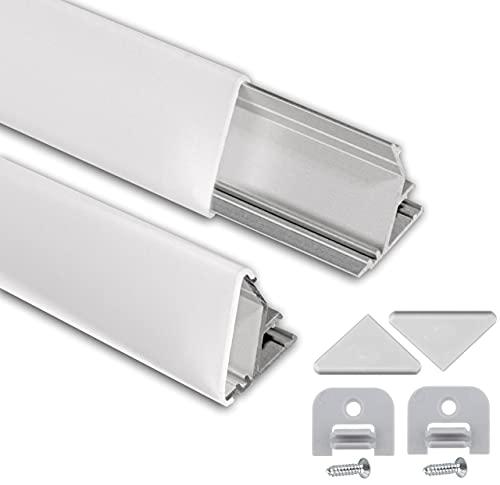 LED Eckprofil 2m am Stück I LED Alu Profile 45 Grad I LED Aluprofil I Aluminiumprofil für LED Stripes I Lichtleiste I 1x2m