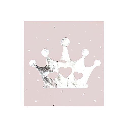 Servietten Prinzessin in rosa mit silberner Krone - 16 Stück pro Packung - 3 lagig - 33x33cm