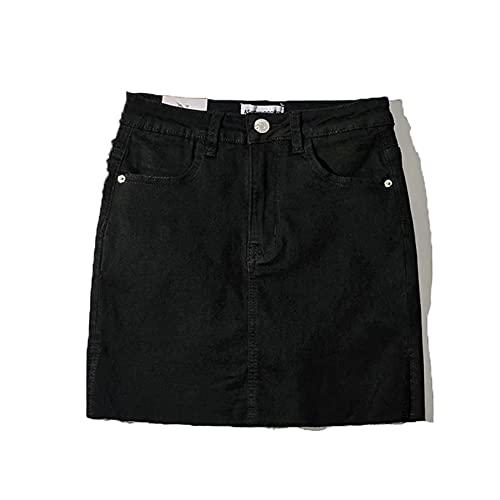 Bolso de Mujer, Falda a la Cadera, Abertura Lateral de Verano, Elegante Estilo Harajuku, Falda Corta, Minifalda Informal de Mezclilla de Cintura Alta para Fiesta