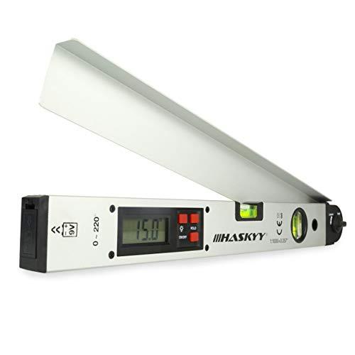 Digitaler Winkelmesser HASKYY 450mm I mit Wasserwaage I Beleuchtetes LCD-Display I Gradmesser 0-230°