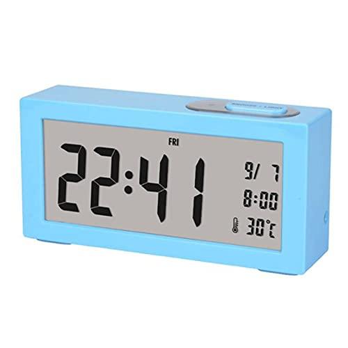 Kfhfhsdgsanz Despertador, Reloj Despertador para el Dormitorio silencioso Reloj Despertador decoración decoración Digital Reloj Despertador (Color : Blue)