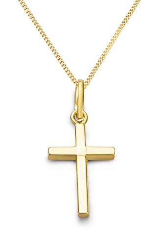Miore Kette Damen Halskette mit Anhänger Kreuz aus Gelbgold 9 Karat / 375 Gold, Halsschmuck 45 cm