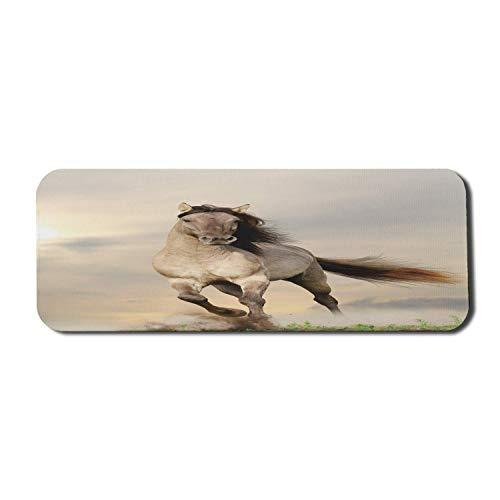 Pferde Computer Mouse Pad, Wildes junges Hengstpferd läuft bei Sonnenuntergang Männliche Kraft Muskelaufbau Adel Foto, Rechteck rutschfest Gummi Mousepad Large Beige