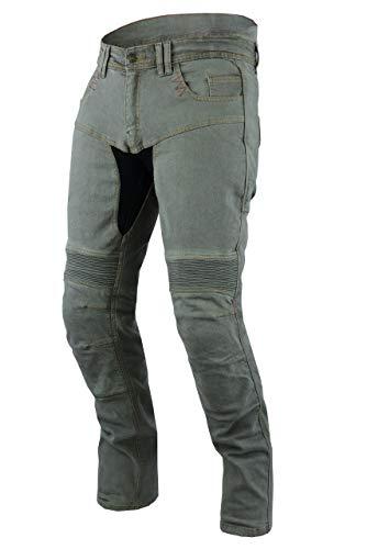 "JET Pantalon Moto Hombre Jeans Kevlar Aramid Con Armadura TECH PRO (56 Regular/Cintura 40"" Longitud 32""(3XL), Gris)"
