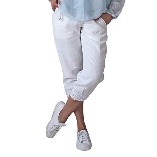 Shujin Damen Baumwolle Leinen Capri Hose Sommer Leicht 3/4 Länge Kurze Baggyhose Chino Hose Lässig Einfarbig Strandshorts Stoffhose Freizeithose