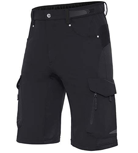 Wespornow Herren MTB Kurz Hose, MTB Bike Shorts Fahrradhose für Herren (Black, XL)