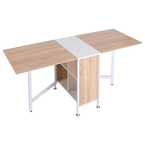 HOMCOM Foldable Drop Leaf Dining Table Folding Workstation for Small Space with Storage Shelves Cubes Oak & White