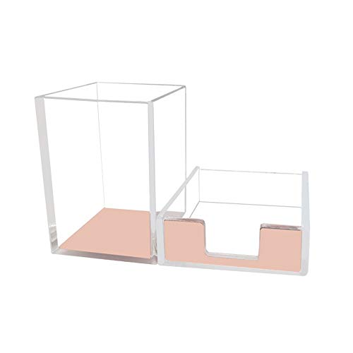 Rose Gold Memo Pad Holder Pencil Cup Set Self-Stick Notes Cube Tray Desktop Accessories Dispenser for Office Home School Stationery Makeup Brush Organizers (Rose Gold & Clear)