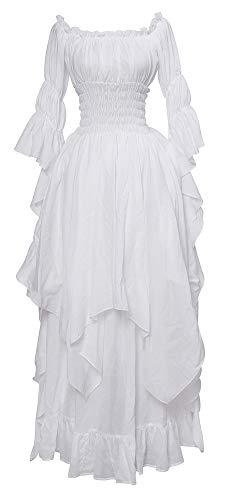 Nuoqi Viktorianisches Nachthemd Gothic Kleidung Damen Mittelalterliches Renaissance Kostüm L/XL