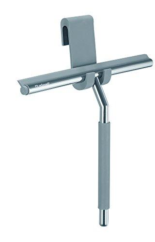 Nicol KAI premium douchewisser zilver van roestvrij staal met hanger voor de douchedeur - chroom design watertrekker om op te hangen zonder boren (2660300)