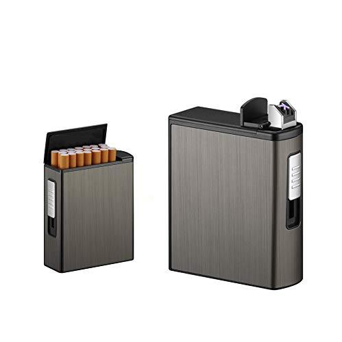 Portasigarette per sigarette a pacchetto intero 20 pezzi,portasigarette Portasigarette Custodia espulsione automatica con doppio accendino USB ricaricabile,senza fiamma,antivento(Black,Arco)