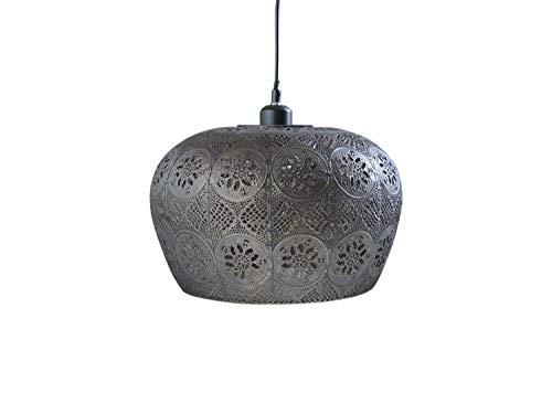 Chic Antique Vintage Vire alte Lampe Hängelampe m.Muster H25/Ø34cm Deckenlampe Eisen Antik Bronze