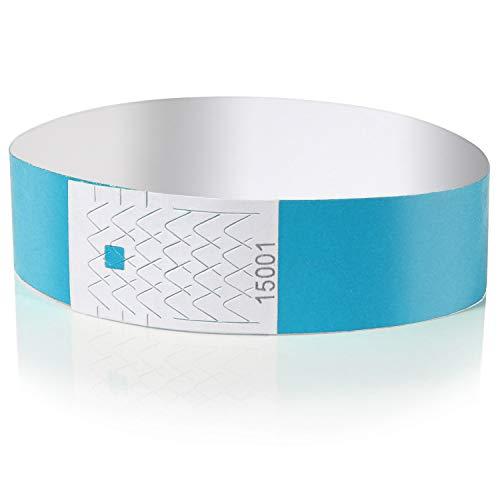 Amazy Einlassbänder (100 Stück   nummeriert) – Wasserfeste, bedruckbare Eintrittsbänder zur Kontrolle und Sicherheit bei Veranstaltungen und Events (Blau)