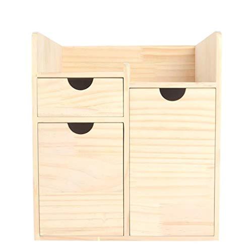 Bureau Petite étagère, boîte de Rangement cosmétique en Bois Grande capacité tiroir tri boîte dortoir Simple Bureau Rack