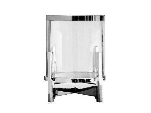 Fink Charles Windlicht mit Glas Eisen vernickelt Glas silberfarben klar Höhe 22 cm Durchmesser 14 5 cm 159598
