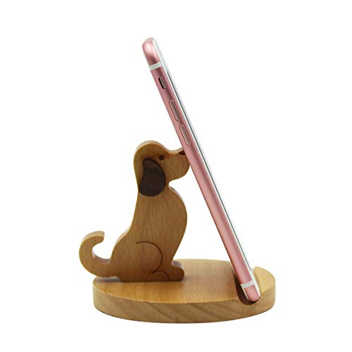 Amamcy Cute Dog Cell Phone Holder Stand, Wooden Smartphone Desk Holder for iPhone Xs/Max/XR/X/8/7 Plus/Google Pixel/Samsung Galaxy Note