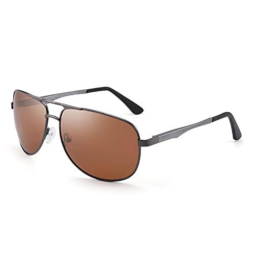 HAOMAO Gafas de sol polarizadas piloto con marco de aluminio con bisagra de resorte Uv400 antirreflectantes para mujeres y hombres, marrón