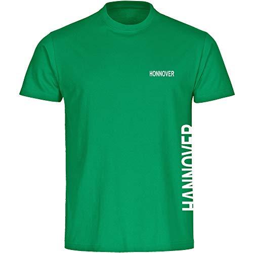 Multifanshop Kinder T-Shirt Hannover seitlich - Schriftzug auf der Brust und auf der Seite - grün - Größe 92 bis 176 - Fußball Fanartikel Fanshop,Farbe:grün,Größe:128