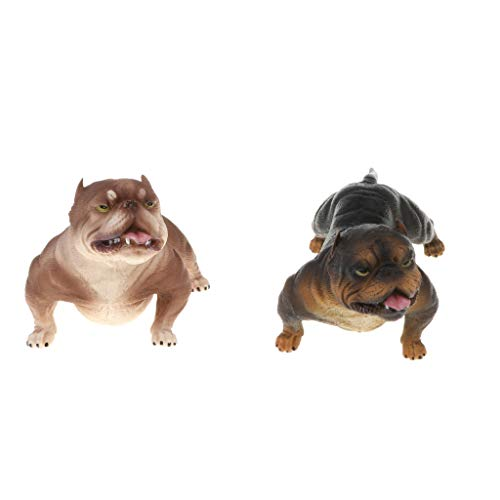 Fityle 2pcs Plastic Realistic Wildlife Animals American Bully Pitbull Dog Action Figure Toys Playset, Kids Toddler Nature Toys Home Decor Collectibles #B