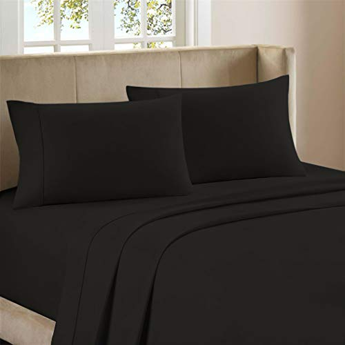 Ultimate Percale 400 Thread Count 100% Cotton 4 Piece Bed Sheet Set, Luxury Queen Sheets Percale Weave, Moisture Wicking, Super Soft Finish, Cool & Crisp, Fitted Sheet Fits Upto 17' Deep Pocket, Black