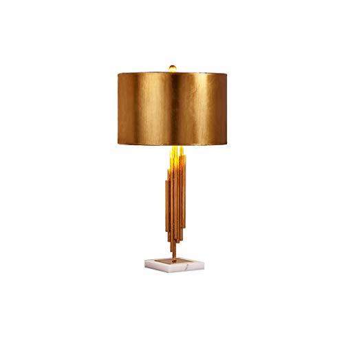 WYH Luz Mesa de Noche Metal del Oro de latón de Metal lámpara de Mesa de Noche Elegante Base pequeño Dormitorio Lámparas de Mesa Pantalla de la Tela de Estar Sala de Regalo LED Lámpara (Color : Gold)