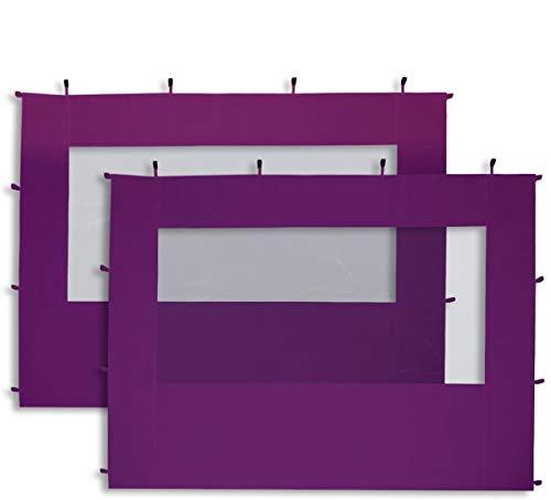TOOLPORT 2 Seitenteile mit Panoramafenstern in lila für 3x3 m Falt Pavillon Faltpavillon Eco Aluminium von PROFIZELT24
