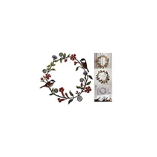 Chickadees & Flowers Arte De Pared De Corona De Metal, Corona De Flores De Hierro Pintada A Mano, Metal De Acero Inoxidable, Adecuado Para Decoraciones De Puertas Y Ventanas (25*25 1PCS)