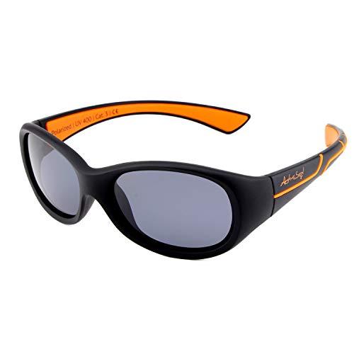 ActiveSol Kids @School Sport-Sonnenbrille | Mädchen und Jungen | 100% UV 400 Schutz | polarisiert | unzerstörbar aus flexiblem Gummi | 5-10 Jahre | nur 22 Gramm (Schwarz/Orange)