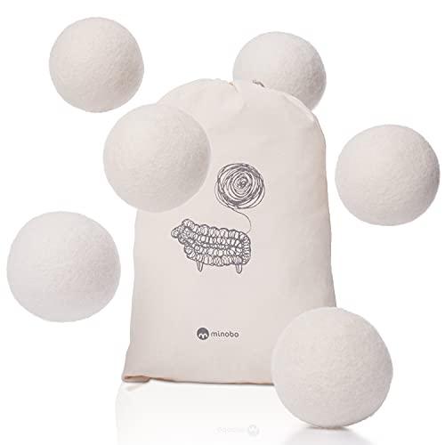 Minobo Trocknerbälle für Wäschetrockner [6er Pack] - Handgefertigt aus 100{66514ad21396a05eeed6ecbd95d4bfdc839cbeaccc6228196cc56d8c96d669d4} neuseeländischer Schafwolle - Öko Trocknerkugeln für spürbar weichere Wäsche